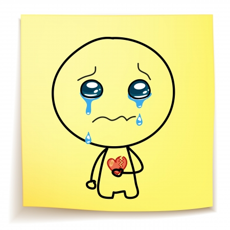 hand drawn cartoon - crying with a broken heart on sticky_notes Illustration