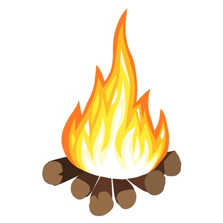 fire wood: campfire isolated on white background Illustration
