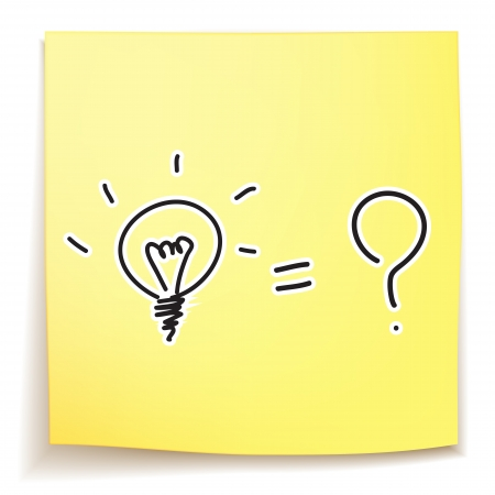 light bulb and question mark idea on sticky note Stock Vector - 21053334