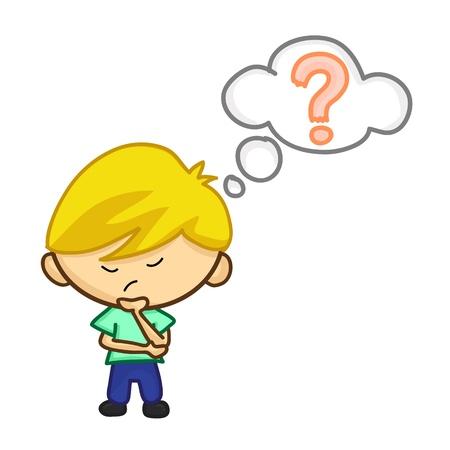 problem solving: little boy having doubts