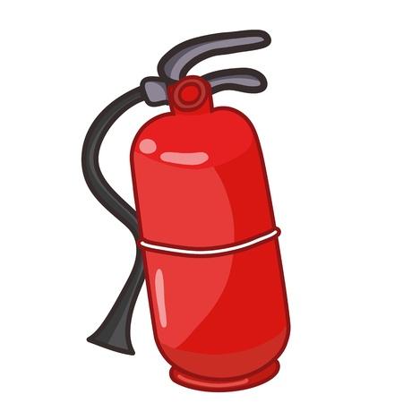 prevencion de accidentes: extintor ilustraci�n sobre fondo blanco