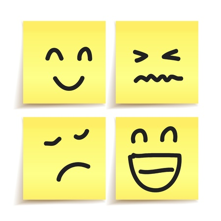 hand drawn emotion on paper stickers vector