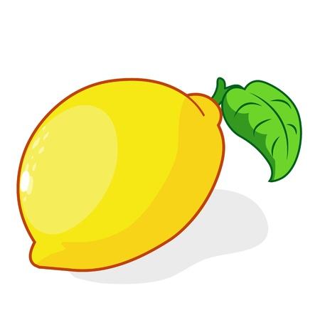 흰색 배경에 신선한 레몬 격리 된 그림 일러스트