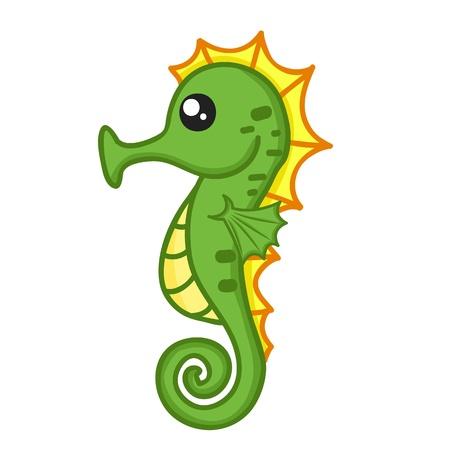 cute Seahorse isolated illustration on white background