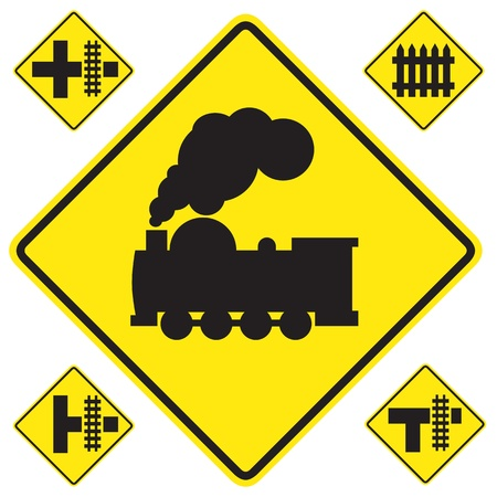 railroad crossing: warning train sign yellow on white background