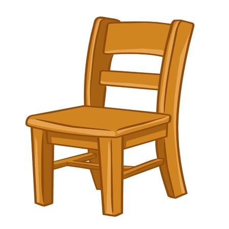 白い背景の上の木製の椅子免震イラスト