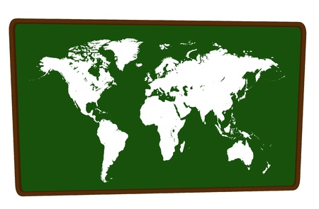 World Map on blackboard isolated illustration Vector