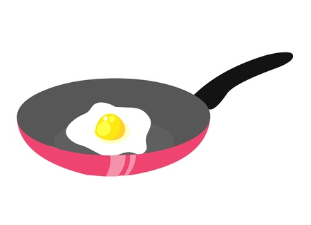 skillet: Fried eggs on pan isolated illustration on white background Illustration