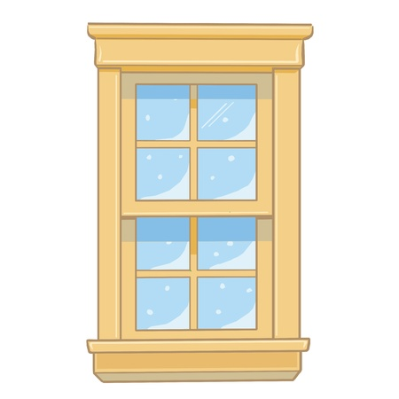 wooden window: Wooden window isolated illustration on white background