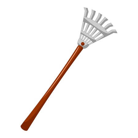 loosening: rake isolated illustration on white background
