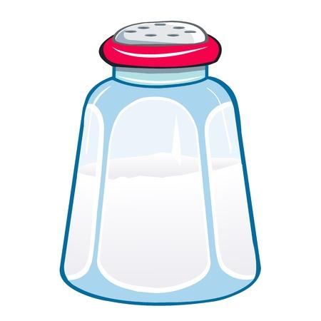 白い背景の上の図は分離した塩のシェーカー