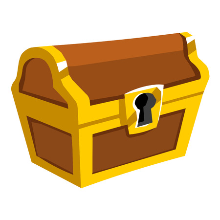 coin box: Treasure Chest isolated illustration on white background