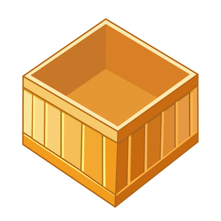 wood box isolated illustration on white background Ilustrace