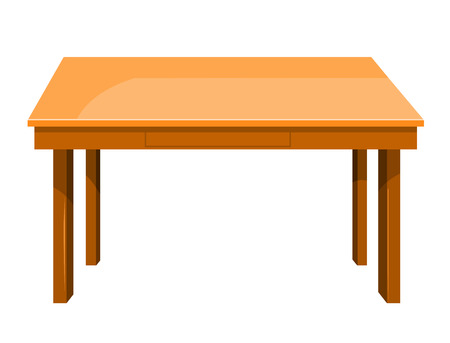 table: Wooden table isolated illustration on white background