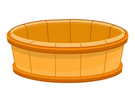 rural wooden bucket: wood bucket isolated illustration on white background