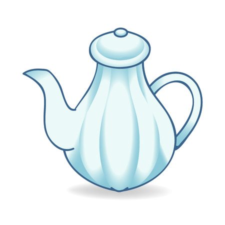 teakettle: blue teakettle isolated illustration on white background