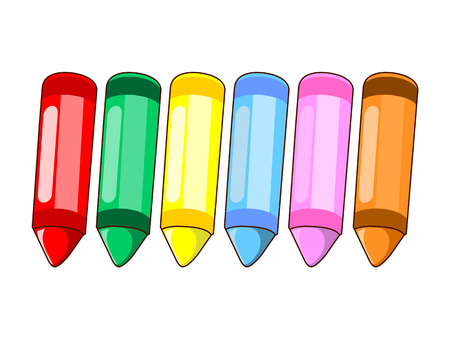 wax crayons colour isolated illustration on white  Çizim