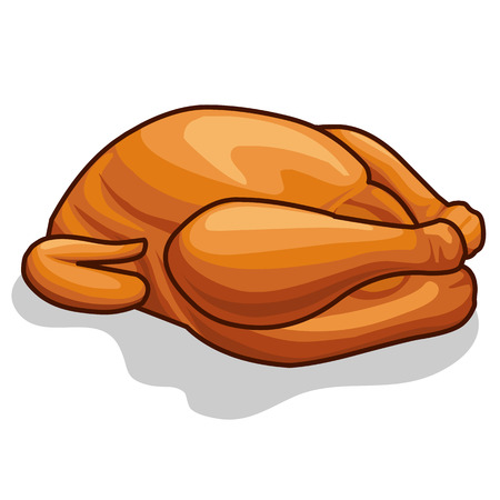 Whole roast chicken isolated illustration on white background Vector