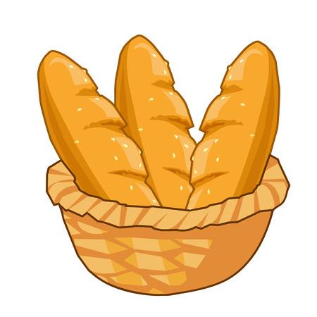 Brot im Korb isolierte Darstellung auf weißem Hintergrund Standard-Bild - 23119233
