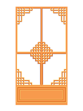 Chinese window isolated illustration on white background Vector