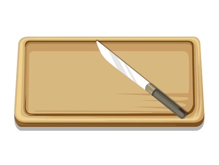 chopping board and knife isolated illustration on white background