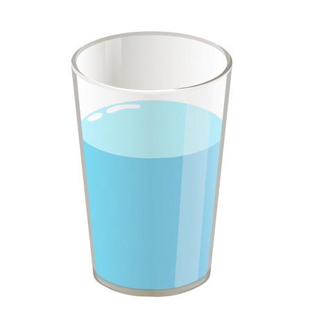 Glas mit Wasser isolierte Darstellung auf weißem Hintergrund Standard-Bild - 23475061