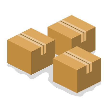 stockpile: cardboard boxes isolated illustration on white background Illustration