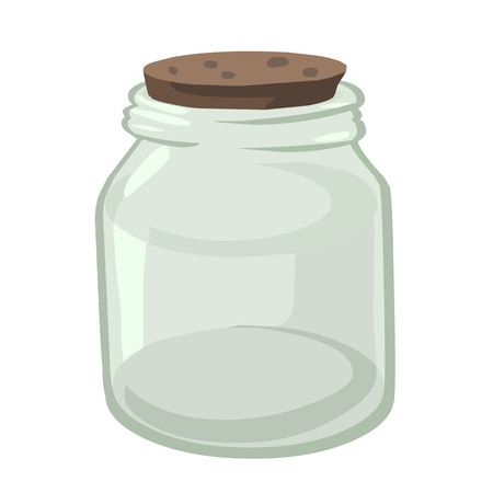 Empty glass jar isolated illustration on white background