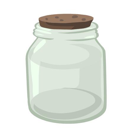 pote: Ilustraci�n, tarro de cristal vac�o en el fondo blanco Vectores