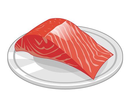 fish steak: Fish steak of salmon isolated illustration on white background  Illustration