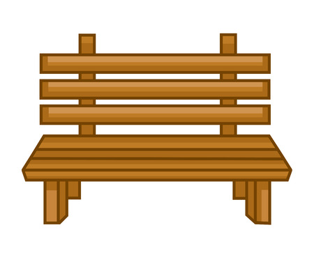 garden furniture: Wooden bench isolated illustration on white background Illustration