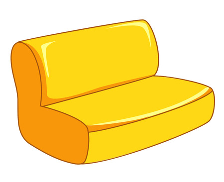 yellow sofa isolated illustration on white background Vector