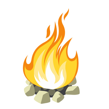 camp fire: campfire isolated on white background Illustration