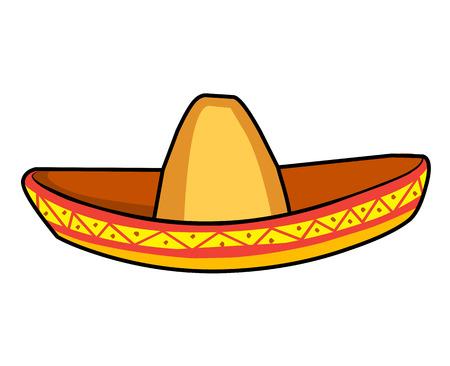 traje mexicano: ilustración, sombrero sombrero de paja sobre fondo blanco