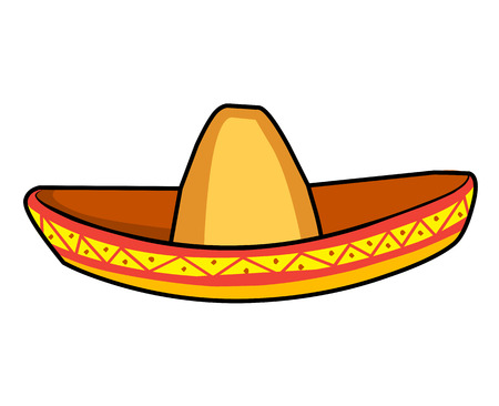 sombrero straw hat isolated illustration on white background Illustration