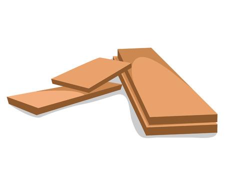 wood planks isolated illustration on white