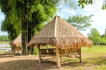 Bamboo house in the jungle 스톡 콘텐츠