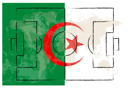 lay out: football court on Algeria flag background vector illustration