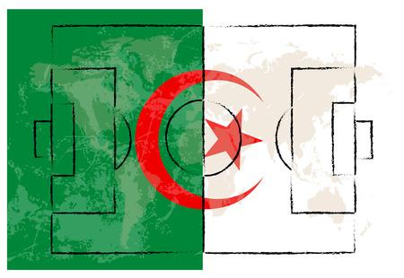 offside: football court on Algeria flag background vector illustration