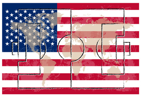 american flag background: football court on american flag background vector illustration