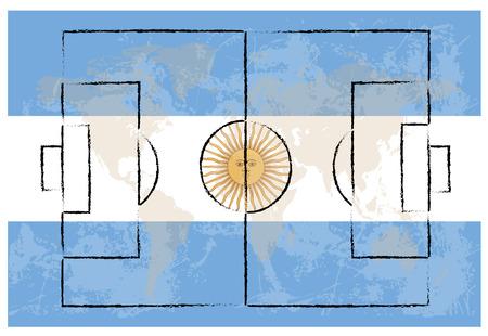 bandera argentina: cancha de f�tbol en la Argentina la bandera de fondo ilustraci�n vectorial Vectores
