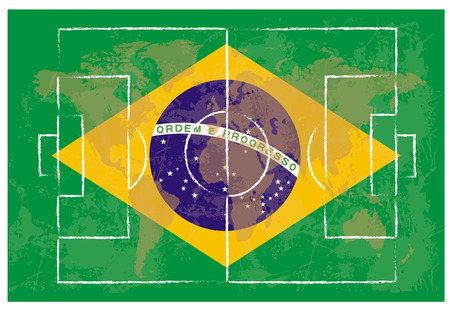 lay out: football court on Brazil flag background vector illustration Illustration