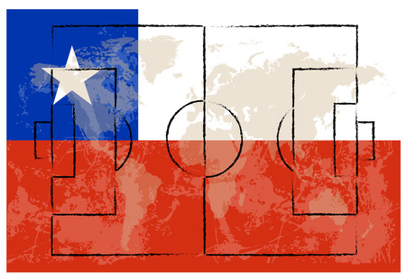 lay out: football court on Chile flag background vector illustration Illustration