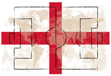 drapeau angleterre: terrain de football sur fond de drapeau Angleterre illustration vectorielle Illustration