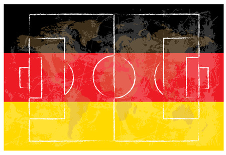 kick out: football court on german flag background vector illustration