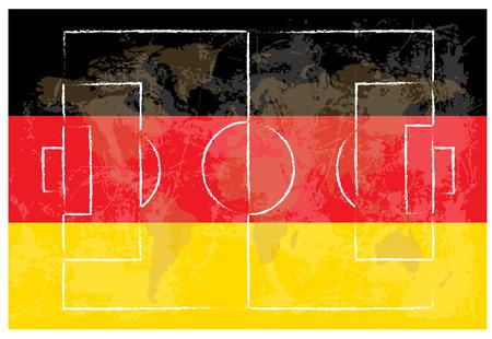 offside: football court on german flag background vector illustration