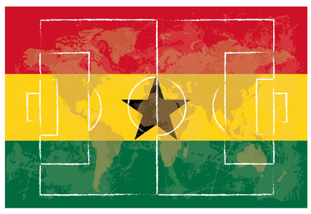 kick out: football court on Ghana flag background vector illustration