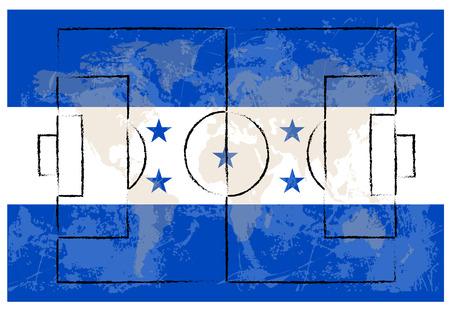 offside: football court on honduras flag background vector illustration