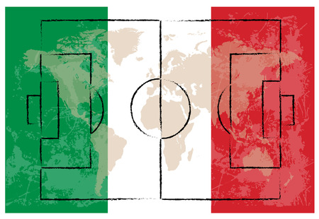 kick out: football court on italy flag background vector illustration