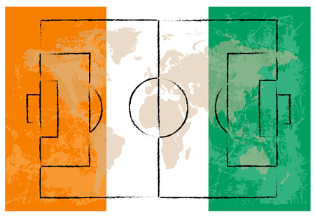 kick out: football court on ivory coast flag background vector illustration